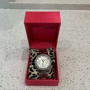 Betsey Johnson Pink Hearts Crystals Silver Watch
